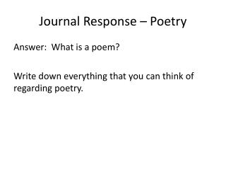Journal Response – Poetry