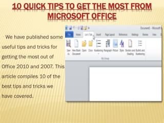 10 Quick tips to get the most form microsoft office