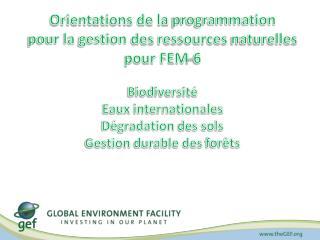 Orientations de la  programmation pour la  gestion  des  ressources naturelles pour FEM-6