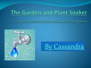 The Garden and Plant Soaker Science Research Task  to make a  Water Saving Device