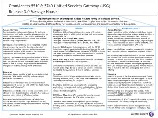 OmniAccess 5510 & 5740 Unified Services Gateway (USG)  Release 3.0 Message House