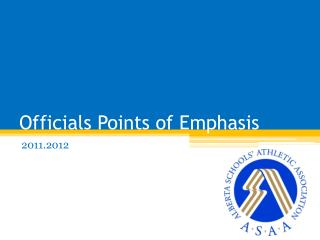 Officials Points of Emphasis