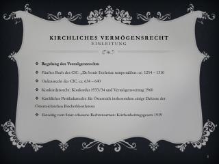 Kirchliches Vermögensrecht Einleitung