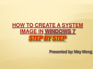 How to Create a System Image in Windows 7