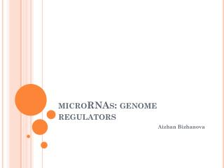 microRNAs : genome regulators