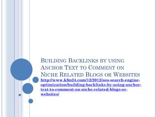 Building Backlinks by using Anchor Text to Comment on Niche