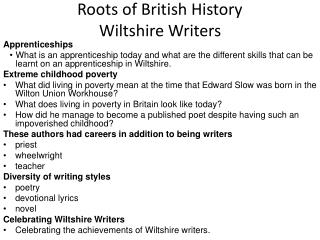 Roots of British History Wiltshire Writers