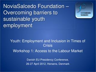NoviaSalcedo Foundation � Overcoming barriers to sustainable youth employment