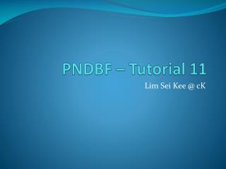 PNDBF � Tutorial 11