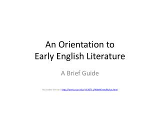 An Orientation to Early English Literature