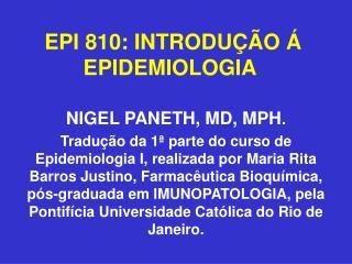 EPI 810: INTRODU