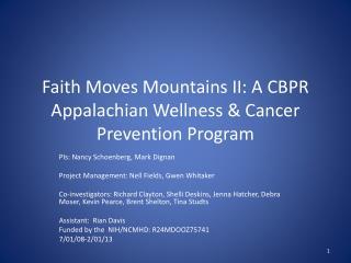 Faith Moves Mountains II: A CBPR Appalachian Wellness & Cancer Prevention Program