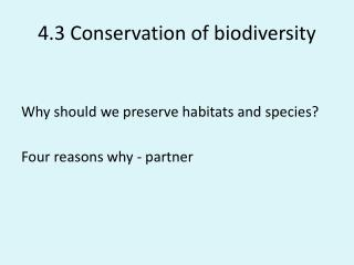 4.3 Conservation of biodiversity