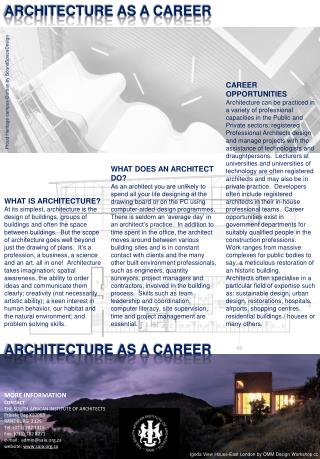 ARCHITECTURE AS A CAREER