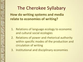 The Cherokee Syllabary