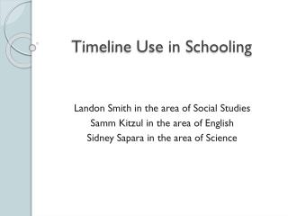 Timeline Use in Schooling