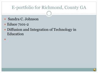 E-portfolio for Richmond, County GA