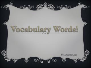 Vocabulary Words!