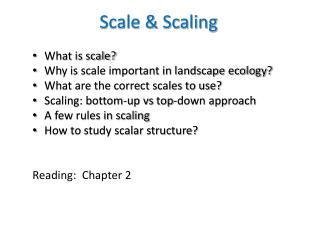Scale & Scaling What is scale? Why is scale important in landscape ecology?