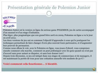 Présentation générale de Polemios Junior