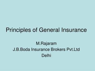 Principles of General Insurance