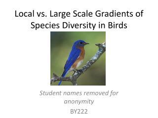 Local vs. Large Scale Gradients of Species Diversity in Birds