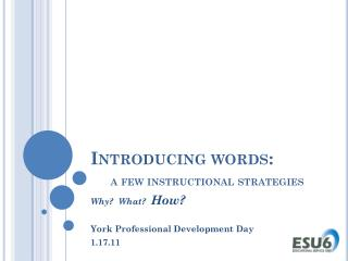 Introducing words: a few instructional strategies