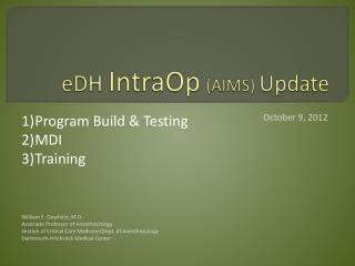 eDH IntraOp (AIMS)  Update