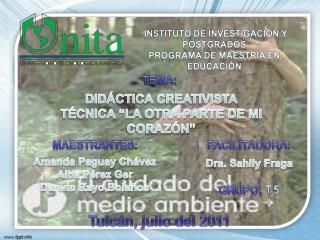 INSTITUTO DE INVESTIGACIÓN Y POSTGRADOS  PROGRAMA DE MAESTRÍA EN EDUCACIÓN