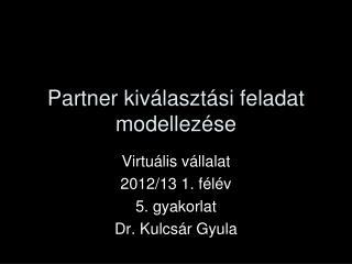 Partner kiválasztási feladat modellezése
