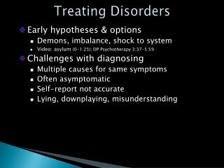Treating Disorders