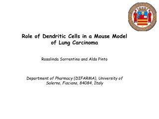 Role of Dendritic Cells  in a Mouse Model of Lung  Carcinoma Rosalinda Sorrentino and  Aldo Pinto