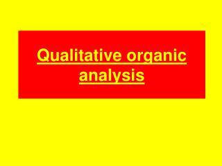 Qualitative organic analysis