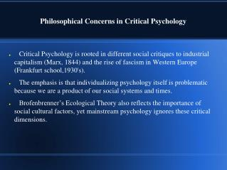 Philosophical Concerns in Critical Psychology