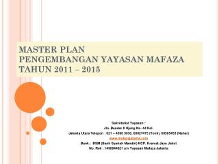 MASTER PLAN  PENGEMBANGAN YAYASAN MAFAZA TAHUN 2011 – 2015