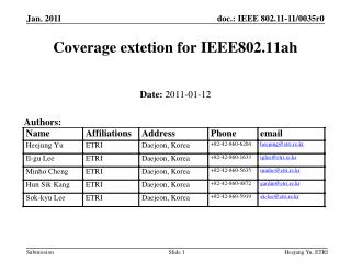 Coverage extetion for IEEE802.11ah