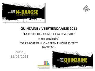 """QUINZAINE / VEERTIENDAAGSE 2011 """" LA FORCE DES JEUNES ET LA DIVERSITE"""" (titre provisoire)"""