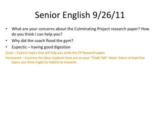 Senior English  9/26/11