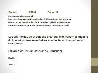 Copuex UNAMCarlos III