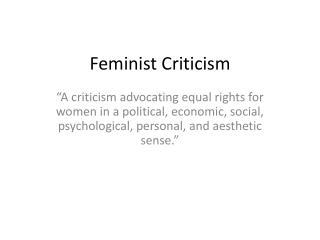 Feminist Criticism