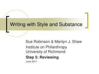 Writing with Style and Substance