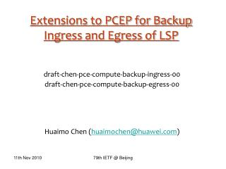 Extensions to PCEP for Backup Ingress and Egress of LSP