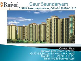 Gaur Saundaryam Noida Extension – 3 BHK for sale