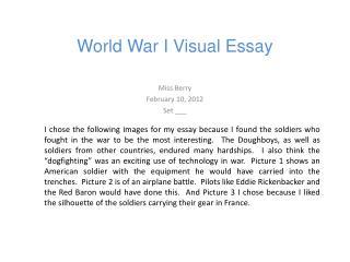 World War I Visual Essay