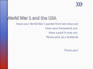 World War 1 and the USA