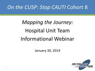 On the CUSP: Stop CAUTI  Cohort 8