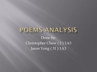 Poems Analysis