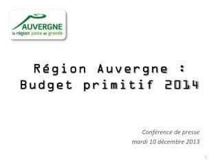 Région Auvergne : Budget primitif 2014