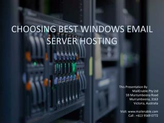 Choosing The Best Windows Email Server Hosting
