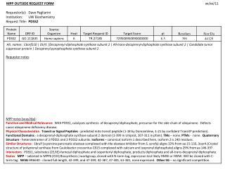 MPP OUTSIDE  REQUEST FORM xx/xx/11 Requestor(s ): Dave  Pagliarini